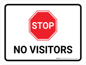 Stop No Visitors with Icon Landscape - Wall Sign