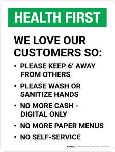 Health First We Love Our Customers COVID-19 Precautions Portrait - Wall Sign