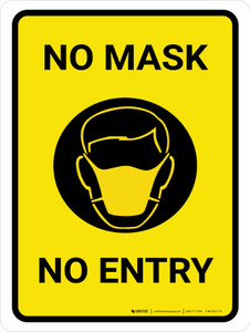 No Mask No Entry with Icon Portrait - Wall Sign