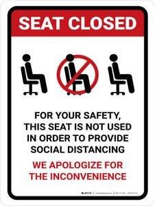 Seat Closed For Social Distancing with Icon Portrait - Wall Sign