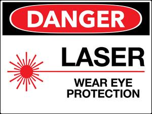 Danger Laser Wear Eye Protection Wall Sign