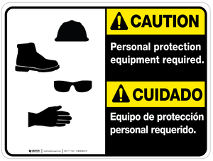 Bilingual Caution Personal Protection Equipment Required Wall Sign