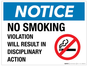Notice: No Smoking - Disciplinary Action - Wall Sign