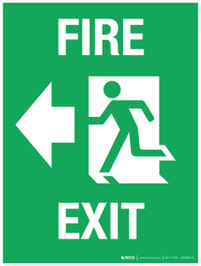 Fire Exit (arrow left) - Wall Sign