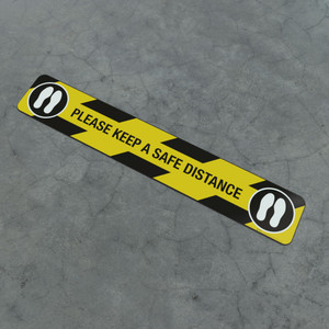 Please Keep A Safe Distance Feet Icon - Social Distancing Strip