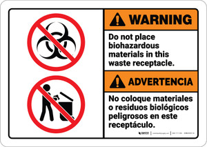 Warning: Do Not Place Biohazardous Materials Bilingual Spanish ANSI - Wall Sign