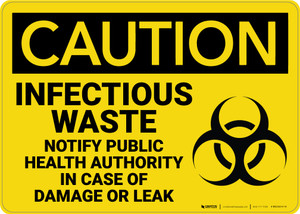 Caution: Infectious Waste Notify Public Health Authority - Wall Sign