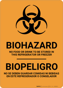 Biohazard: No Food Stored In Refrigerator Bilingual Spanish - Wall Sign