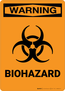 Warning: Biohazard with Icon - Portrait Wall Sign