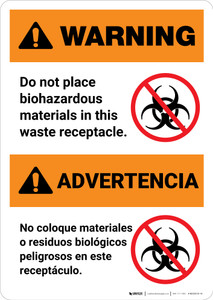 Warning: Do Not Place Biohazardous Materials in Waste Receptacle Bilingual Spanish - Portrait Wall Sign