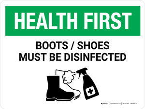 Health First: Boots/Shoes Must Be Disinfected with Icon Landscape - Wall Sign