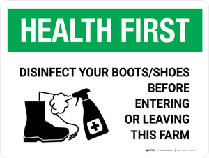 Health First: Disinfect Boots/Shoes Farm with Icon Landscape - Wall Sign