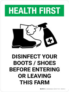 Health First: Disinfect Boots/Shoes Farm with Icon Portrait - Wall Sign