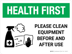 Health First: Please Clean Equipment with Icon Landscape - Wall Sign