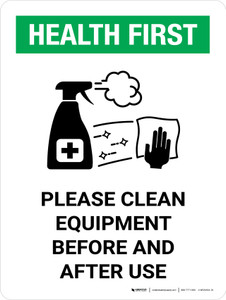 Health First: Please Clean Equipment with Icon Portrait - Wall Sign