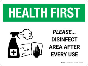 Health First: Please Disinfect Area with Icon Landscape - Wall Sign
