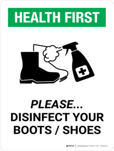 Health First: Please Disinfect Boots/Shoes with Icon Portrait - Wall Sign