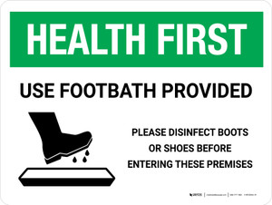 Health First: Use Footbath with Icon Landscape - Wall Sign