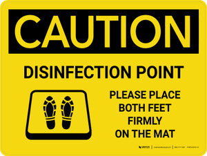 Caution: Disinfection Point with Icon Landscape - Wall Sign