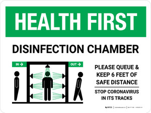 Health First: Disinfection Chamber with Icon Landscape - Wall Sign
