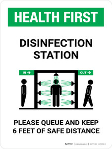 Health First: Disinfection Station with Icon Portrait - Wall Sign