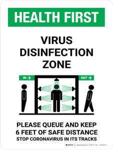 Health First: Virus Disinfection Zone with Icon Portrait - Wall Sign