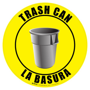 Trash Can Sign - English and Spanish