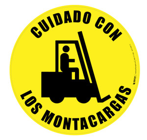 Cuidado Con Los Montacargas (Watch out for Forklift) Floor Sign