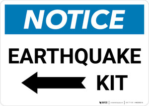Notice: Earthquake Kit with Left Arrow Landscape