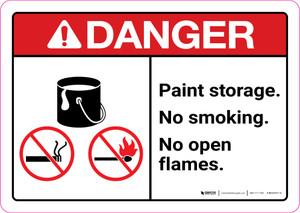 Danger: Paint Storage - No Smoking/No Open Flames ANSI Landscape