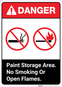 Danger: Paint Storage Area - No Smoking or Open Flames ANSI Portrait