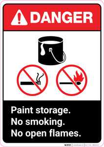 Danger: Paint Storage - No Smoking/No Open Flames ANSI Portrait