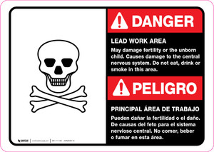 Danger: Lead Work Area May Damage Fertility Bilingual ANSI Landscape