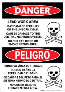 Danger: Lead Work Area May Damage Fertility Bilingual Portrait