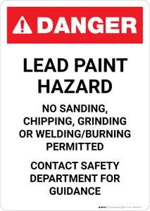 Danger: Lead Paint Hazard - Contact Safety Department for Guidance Portrait