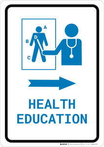 Health Education Right Arrow with Icon Portrait v2 - Wall Sign