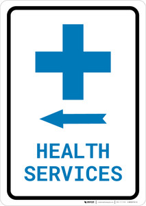 Health Services Left Arrow with Icon Portrait v2 - Wall Sign