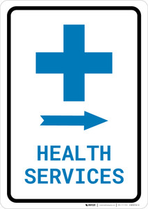 Health Services Right Arrow with Icon Portrait v2 - Wall Sign
