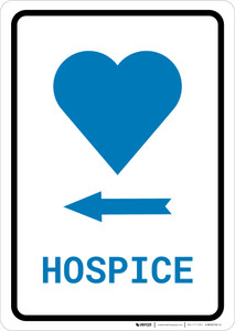 Hospice Left Arrow with Icon Portrait v2 - Wall Sign