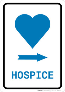Hospice Right Arrow with Icon Portrait v2 - Wall Sign