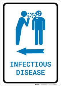 Infectious Disease Left Arrow with Icon Portrait v2 - Wall Sign