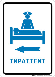 Inpatient Left Arrow with Icon Portrait v2 - Wall Sign