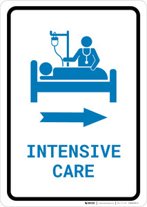 Intensive Care Right Arrow with Icon Portrait v2 - Wall Sign