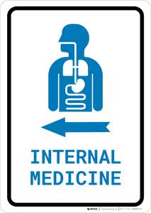 Internal Medicine Left Arrow with Icon Portrait v2 - Wall Sign