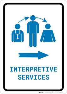 Interpretive Services Right Arrow with Icon Portrait v2 - Wall Sign