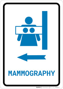 Mammography Left Arrow with Icon Portrait v2 - Wall Sign