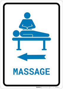 Massage Left Arrow with Icon Portrait v2 - Wall Sign
