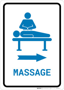 Massage Right Arrow with Icon Portrait v2 - Wall Sign
