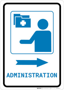 Medical Administration Right Arrow with Icon Portrait v2 - Wall Sign