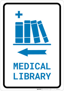 Medical Library Left Arrow with Icon Portrait v2 - Wall Sign